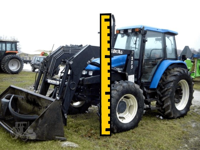 Illustration showing how to measure a tractor for transport