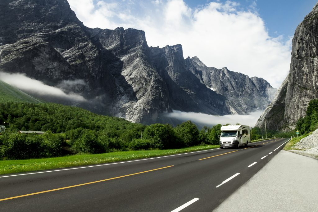 Small motorhome on a scenic mountain drive