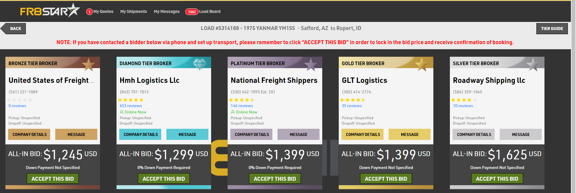 FR8Star's bid comparison makes it easy to transport your shipment